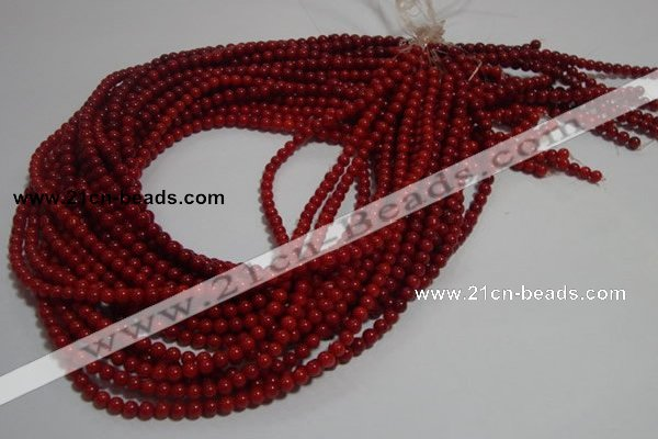CCB60 15.5 inches 4mm round red coral beads Wholesale