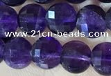 CCB601 15.5 inches 6mm faceted coin natural amethyst beads wholesale