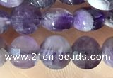CCB602 15.5 inches 6mm faceted coin dogtooth amethyst  eads