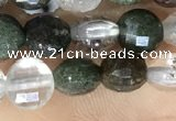 CCB604 15.5 inches 6mm faceted coin green phantom quartz beads