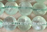 CCB608 15.5 inches 6mm faceted coin prehnite gemstone beads