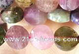 CCB617 15.5 inches 6mm faceted coin tourmaline beads wholesale