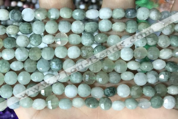 CCB619 15.5 inches 6mm faceted coin jade gemstone beads