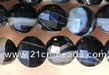 CCB631 15.5 inches 6mm faceted coin black line agate beads