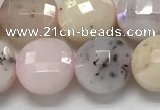 CCB682 15.5 inches 10mm faceted coin pink opal gemstone beads