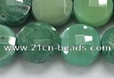 CCB689 15.5 inches 10mm faceted coin grass agate gemstone beads