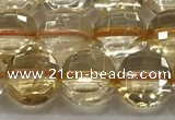 CCB723 15.5 inches 8mm faceted coin citrine gemstone beads