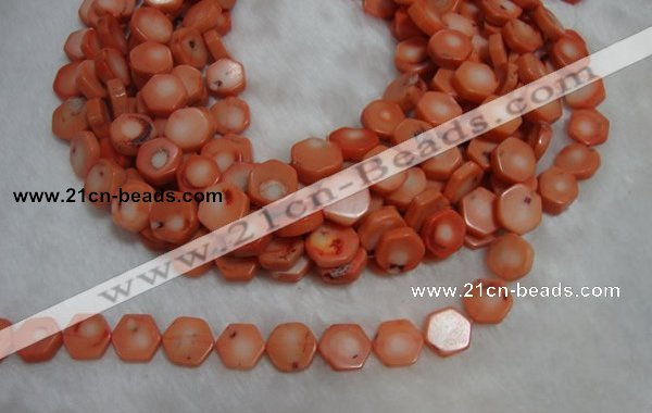 CCB85 15.5 inches 13mm hexagon pink coral beads Wholesale