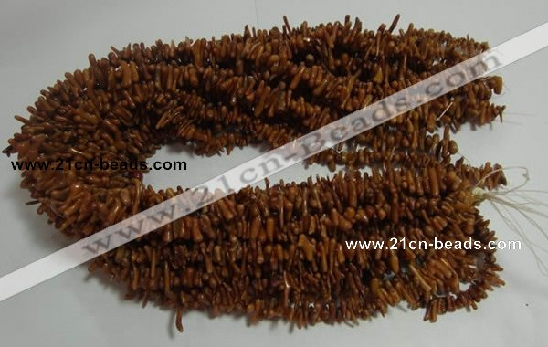 CCB90 15.5 inch 2*8mm irregular branch coffee coral beads Wholesale