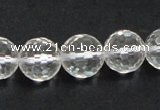 CCC211 15.5 inches 14mm faceted round grade AB natural white crystal beads