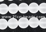 CCC603 15.5 inches 10mm round matte natural white crystal beads