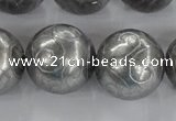CCJ355 15.5 inches 25mm carved round plated China jade beads