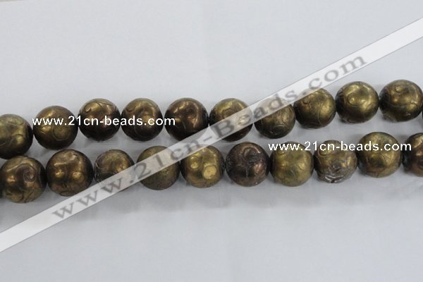 CCJ356 15.5 inches 25mm carved round plated China jade beads