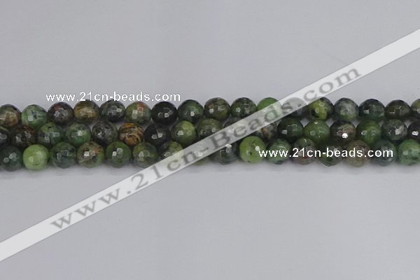 CCJ423 15.5 inches 10mm faceted round dendritic green jade beads