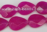 CCN2191 15.5 inches 15*20mm faceted flat teardrop candy jade beads