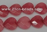 CCN2244 15.5 inches 15*15mm faceted heart candy jade beads wholesale