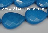 CCN2334 15.5 inches 18*25mm faceted flat teardrop candy jade beads