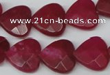 CCN345 15.5 inches 15*15mm faceted heart candy jade beads wholesale