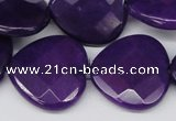 CCN376 15.5 inches 25*25mm faceted heart candy jade beads wholesale