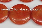 CCN3841 15.5 inches 30mm flat round candy jade beads wholesale