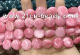 CCN5880 15 inches 15mm flat round candy jade beads Wholesale