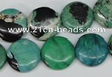 CCO152 15.5 inches 16mm flat round dyed natural chrysotine beads