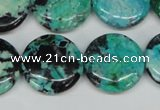 CCO154 15.5 inches 20mm flat round dyed natural chrysotine beads