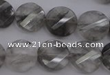 CCQ273 15.5 inches 15mm faceted & twisted coin cloudy quartz beads