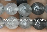 CCQ582 15.5 inches 8mm faceted round cloudy quartz beads wholesale