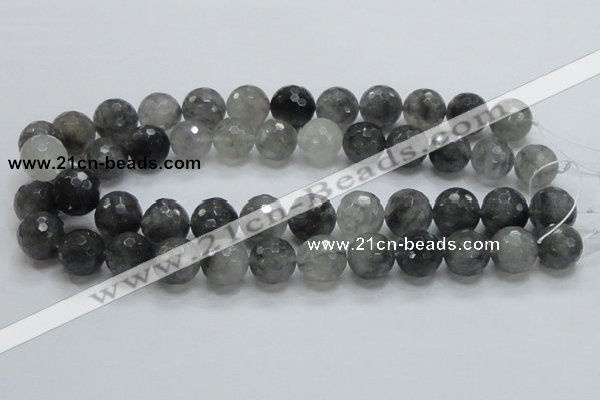 CCQ63 15.5 inches 16mm faceted round cloudy quartz beads wholesale