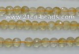 CCR03 15.5 inches 6mm faceted round natural citrine gemstone beads