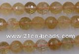 CCR154 15.5 inches 9mm faceted round natural citrine gemstone beads