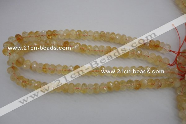 CCR163 15.5 inches 7*12mm faceted rondelle natural citrine beads
