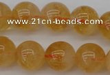 CCR168 15.5 inches 12mm round natural citrine beads wholesale