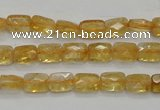 CCR26 15.5 inches 6*7mm faceted rectangle natural citrine beads