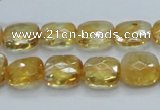 CCR28 15.5 inches 11*13mm faceted rectangle natural citrine beads