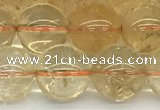 CCR348 15.5 inches 12mm round natural citrine beads wholesale