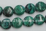 CCS212 15.5 inches 12mm flat round natural Chinese chrysocolla beads