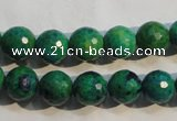 CCS603 15.5 inches 10mm faceted round dyed chrysocolla gemstone beads