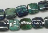 CCS66 16 inches 14*14mm square dyed chrysocolla gemstone beads