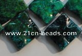 CCS685 15.5 inches 18*18mm wavy diamond dyed chrysocolla beads