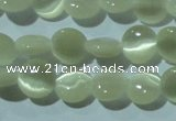 CCT450 15 inches 6mm flat round cats eye beads wholesale
