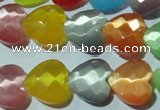 CCT980 15 inches 14*14mm faceted heart cats eye beads wholesale