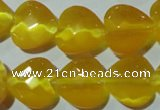 CCT986 15 inches 16*16mm faceted heart cats eye beads wholesale