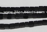 CCU09 15.5 inches 4*4mm cube black agate beads wholesale