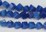 CCU101 15.5 inches 6*6mm cube dyed white jade beads wholesale