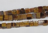 CCU34 15.5 inches 5*5mm cube yellow tiger eye beads wholesale