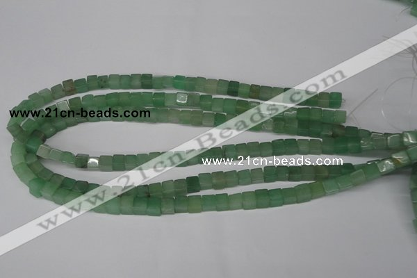 CCU44 15.5 inches 6*6mm cube green aventurine beads wholesale