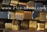 CCU464 15.5 inches 4*4mm cube yellow tiger eye beads wholesale