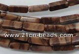 CCU504 15.5 inches 4*13mm cuboid red line jasper beads wholesale